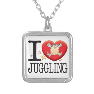 Juggling Love Man Square Pendant Necklace