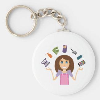 Juggling Mom (Brunette) Basic Round Button Keychain