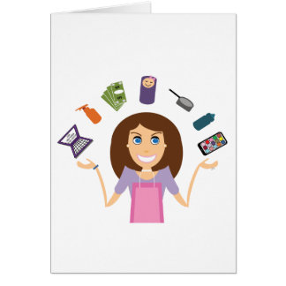 Juggling Mom (Brunette) Card