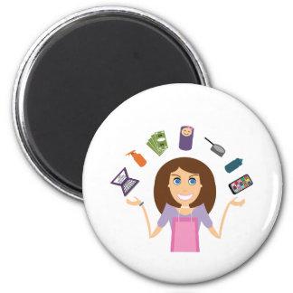 Juggling Mom (Brunette) Refrigerator Magnet