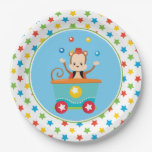 Hand shaped Juggling Monkey | Circus Train Paper Plate