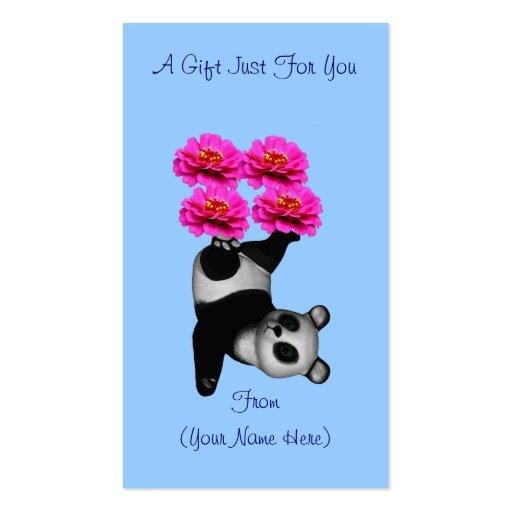 Juggling panda bear personalized gift card tag business for Personalized gift cards for businesses