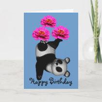 Juggling Panda Bear Zinnia Flower Birthday Card