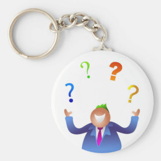 Juggling Questions Basic Round Button Keychain