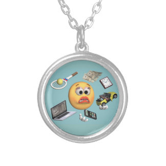 "Juggling ""Smiley"" Girl Round Pendant Necklace"