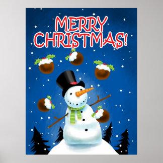 Juggling Snowman Poster