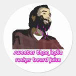Jugo 9 de la barba pegatina redonda