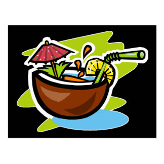 Jugo de fruta tropical del coco 2 postal