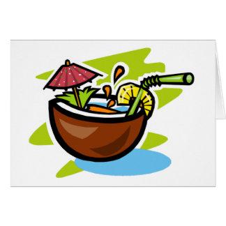Jugo de fruta tropical del coco 2 tarjeta de felicitación