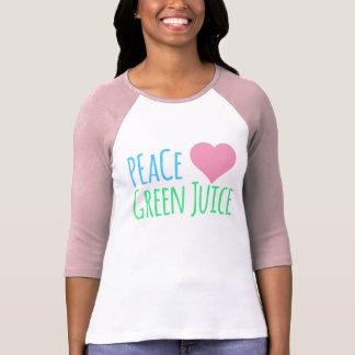 Jugo del verde del corazón del amor de la paz poleras