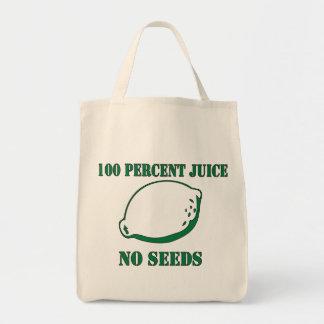 Jugo ningunas semillas bolsas lienzo