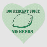 Jugo ningunas semillas pegatina en forma de corazón