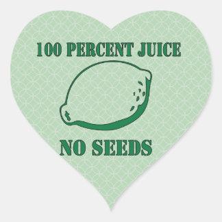 Jugo ningunas semillas pegatina de corazon personalizadas