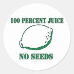 Jugo ningunas semillas pegatina redonda