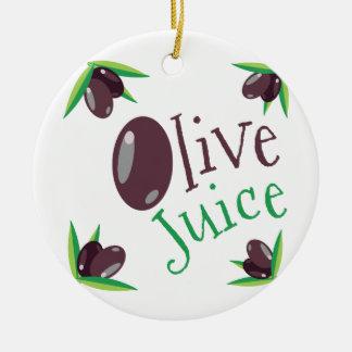 Jugo verde oliva adorno navideño redondo de cerámica