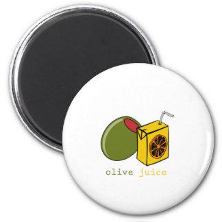 Jugo verde oliva imán redondo 5 cm