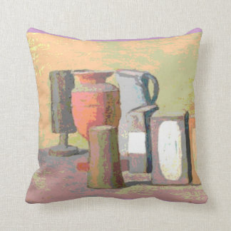 Jugs and Boxes Still Life Pink Throw Pillow