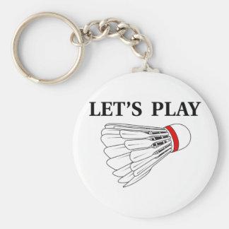 Juguemos al bádminton llavero redondo tipo pin