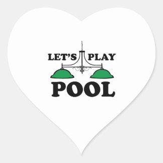 Juguemos al billar pegatina en forma de corazón