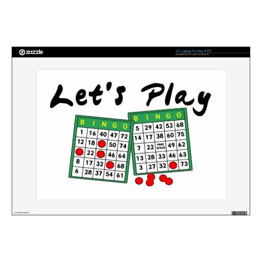 Juguemos el bingo calcomanías para portátiles