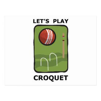 Juguemos el croquet tarjeta postal