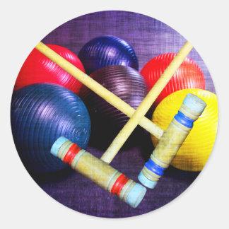 Juguemos el estilo del Grunge del croquet Pegatina Redonda