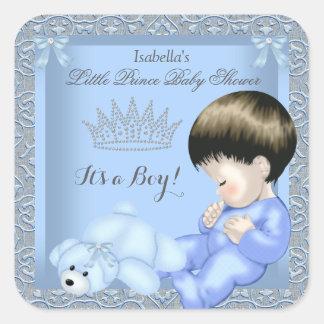 Juguete azul 4 del damasco del pequeño muchacho pegatina cuadrada