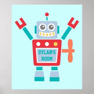 Juguete colorido lindo del robot del vintage para póster