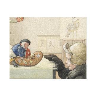 Juguete compañero divertido con el niño impresiones en lienzo estiradas