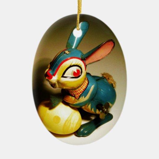 juguete de los conejos del conejo y huevo amarillo adorno ovalado de cerámica