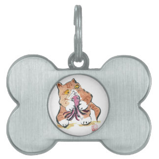 Juguete del pulpo y gatito del tigre, Sumi-e Placa De Nombre De Mascota