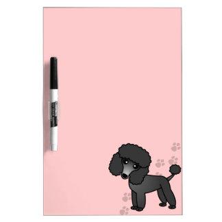 Juguete lindo del dibujo animado caniche negro min pizarra
