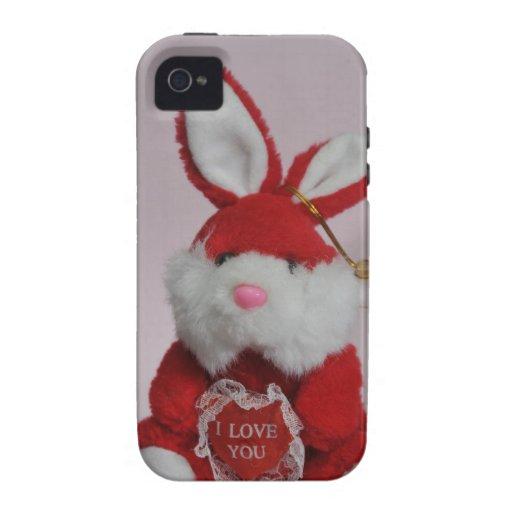 Juguete rojo del conejito vibe iPhone 4 carcasa