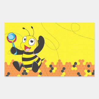 Juguete sonriente feliz amarillo lindo del pegatina rectangular