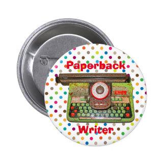 Juguete Typwriter del escritor del libro en Pin Redondo De 2 Pulgadas