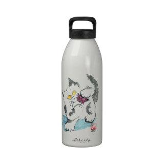 Juguete y gatito, Sumi-e del hilado Botellas De Agua Reutilizables