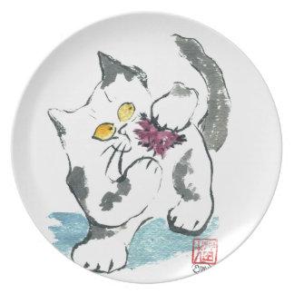 Juguete y gatito, Sumi-e del hilado Plato Para Fiesta