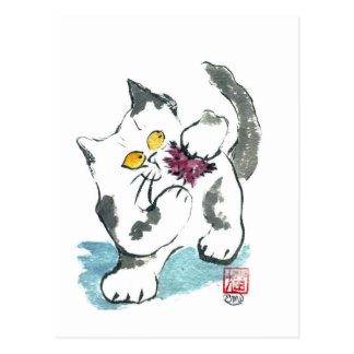 Juguete y gatito, Sumi-e del hilado Postales
