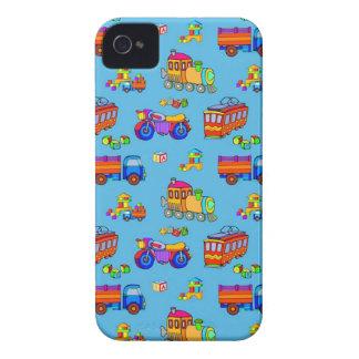 Juguetes - camiones y trenes rojos del naranja iPhone 4 Case-Mate carcasas