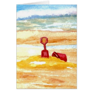 Juguetes de la arena - edificio del castillo de la tarjeta de felicitación