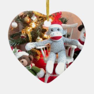 Juguetes del navidad adorno navideño de cerámica en forma de corazón