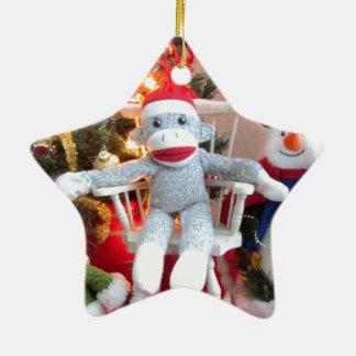 Juguetes del navidad adorno navideño de cerámica en forma de estrella