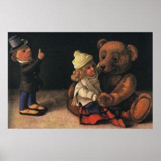 Juguetes del navidad del vintage, muñeca y un oso póster