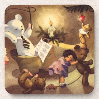 Juguetes del navidad del vintage, muñecas de posavasos de bebidas