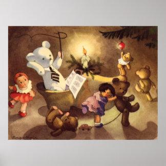 Juguetes del navidad del vintage, muñecas de póster