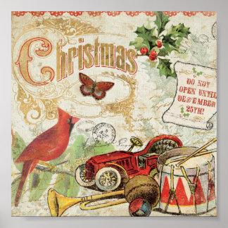 Juguetes del navidad del vintage póster