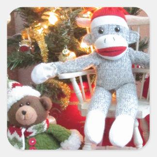 Juguetes del navidad pegatina cuadrada