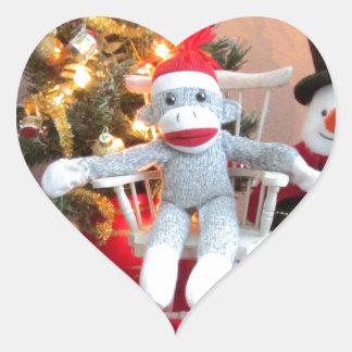 Juguetes del navidad pegatina en forma de corazón