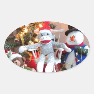 Juguetes del navidad pegatina ovalada