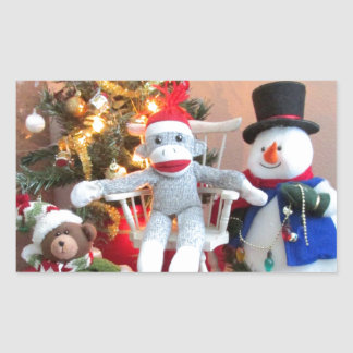 Juguetes del navidad pegatina rectangular